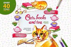 Watercolor cats, books and tea