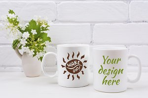 Two white coffee mug mockup