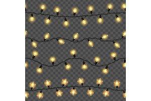 Yellow christmas lights isolated