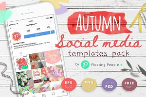 Autumn social media templates pack
