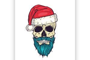 Color handdrawn angry skull of Santa