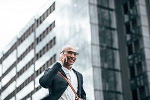 Businessman talking over mobile