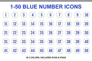 Blue Double Line Number Icons 1-50