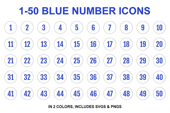 Blue Single Line Number Icons 1-50