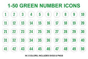 Green Single Line Number Icons 1-50