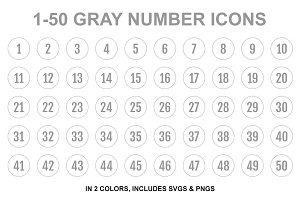 Gray Single Line Number Icons
