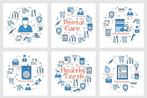 Set of banners for dental health