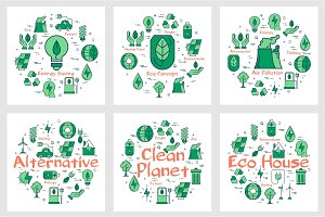 Green Eco concept icons