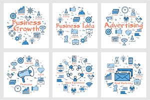 Business banners with icons