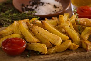 Homemade french fries with organic k