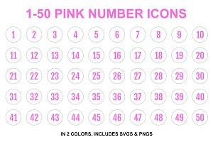 Pink Single Line Number Icons 1-50