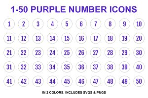 Purple Single Line Number Icons 1-50