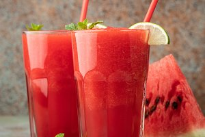 Watermelon slushie with lime, summer