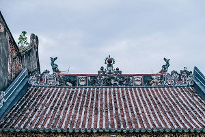 Weathered Chinese Temple Red Rooftop