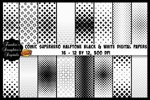 Comic Superhero Halftone Black/White
