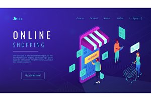 Isometric online shopping landing