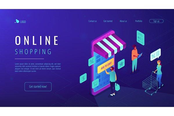 Isometric online shopping landing