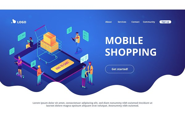 Isometric mobile shopping online