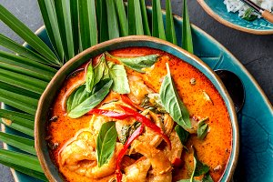 THAI SHRIMPS RED CURRY. Thailand