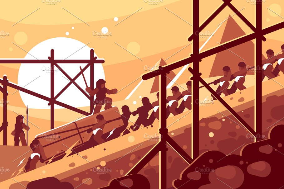 Construction of Egyptian pyramids in Illustrations - product preview 8