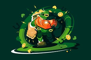 Angry leprechaun with gold