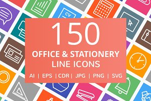150 Office & Stationery Line Icons