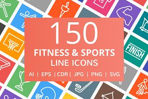 150 Fitness & Sports Line Icons