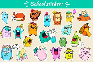 School stickers with funny monsters