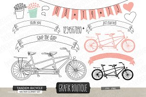 Tandem bicycle pink hand drawn