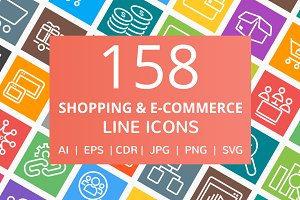 158 Shopping & E-Commerce Line Icons
