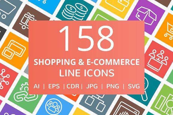 158 Shopping & E-Commerce Line Icons