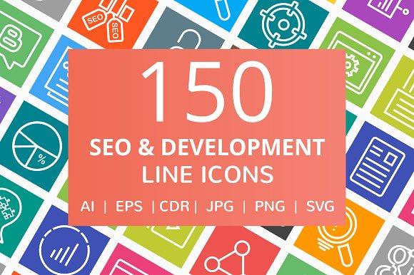 150 SEO & Development Line Icons