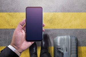Smartphone Mockup Image. Top View