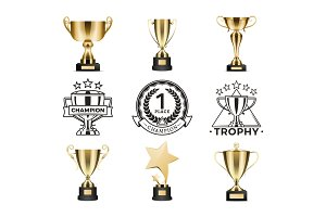Champion Awards Cups Set, Vector