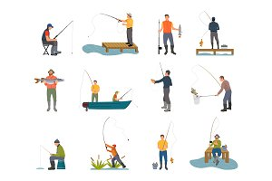 Fishers with Fishing Rod Set Vector