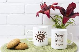 Two coffee mug mockup with red lily