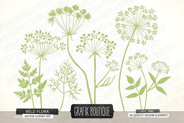 Wild Herbs Flowers silhouette vecto…