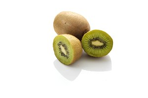 kiwi slices on white background
