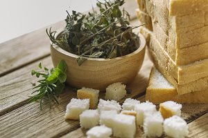 oregano with rosemary and bread