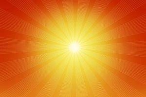 Shining sun with warm rays. Vintage