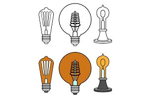 Set of old light bulbs
