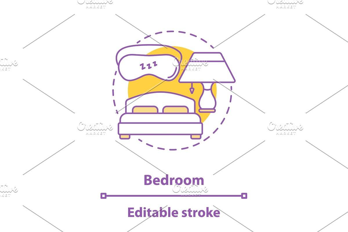 Bedroom interior concept icon