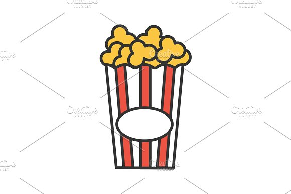 Paper glass with popcorn color icon