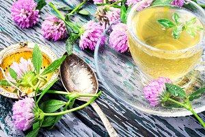 Healthy tea with clover