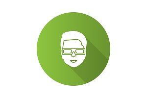 Man with polarized 3D glasses icon