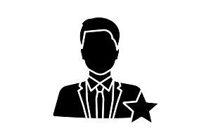 Actor or TV presenter glyph icon