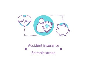 Accident insurance concept icon