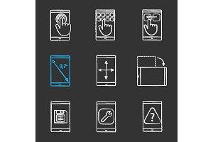 Smartphone chalk icons set