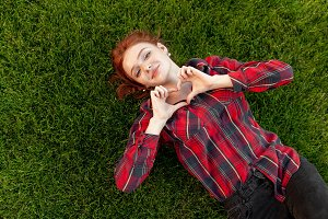 Beautiful red-haired young student w