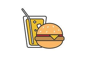 Burger and soda color icon
